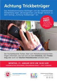 Achtung Trickbetrüger - 21.01.2019, 16 Uhr, Stadtbibliothek Mühlenberg