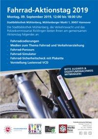 Fahrrad-Aktionstag: Montag, 9. September 2019, 12-18 Uhr, Stadtbibliothek Mühlenberg, Mühlenberger Markt 1, 30457 Hannover